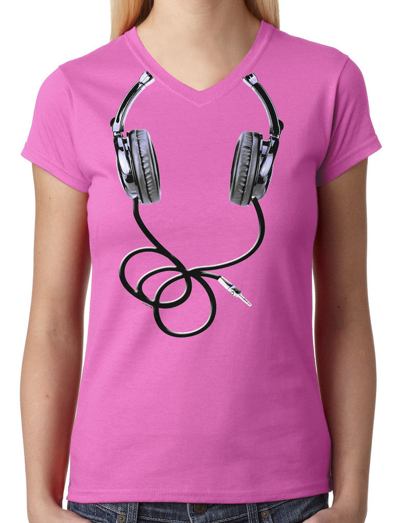 Over Size Headphones Junior Ladies V-neck T-shirt