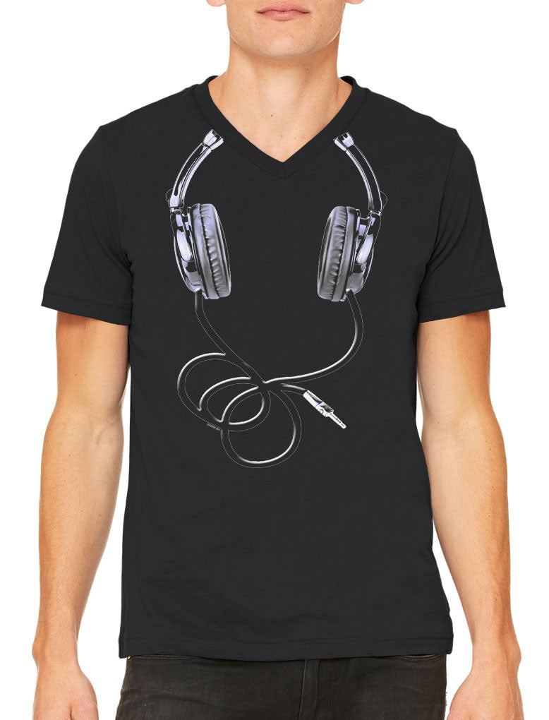 Over Size Headphones Men's V-neck T-shirt