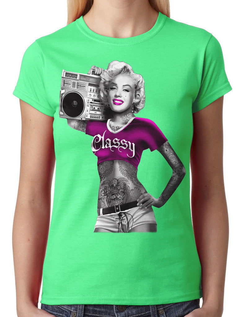 Classy Marilyn Monroe Boombox Junior Ladies T-shirt