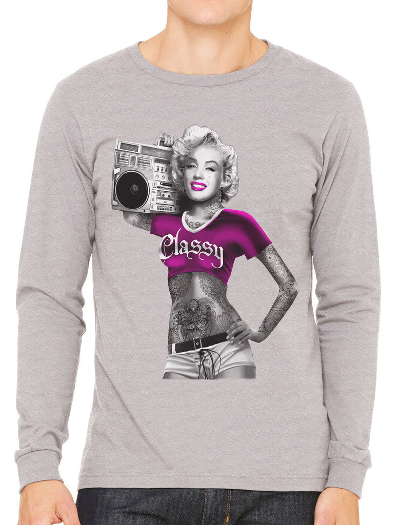 Classy Marilyn Monroe Boombox Men's Long Sleeve T-shirt