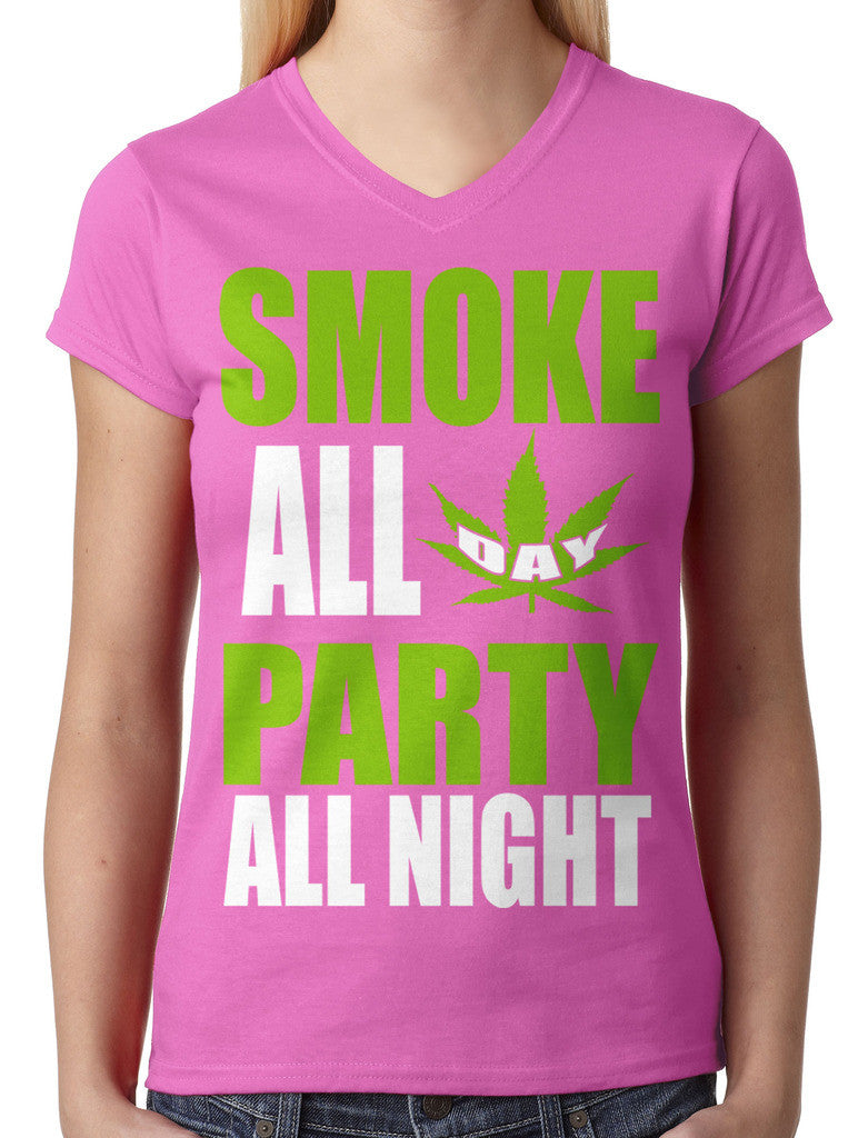 Smoke All Day Party All Night Junior Ladies V-neck T-shirt