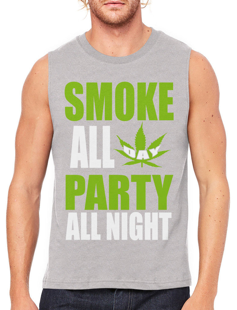 Smoke All Day Party All Night Men's Sleeveless T-Shirt
