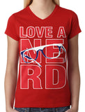 Love A Nerd Junior Ladies V-neck T-shirt