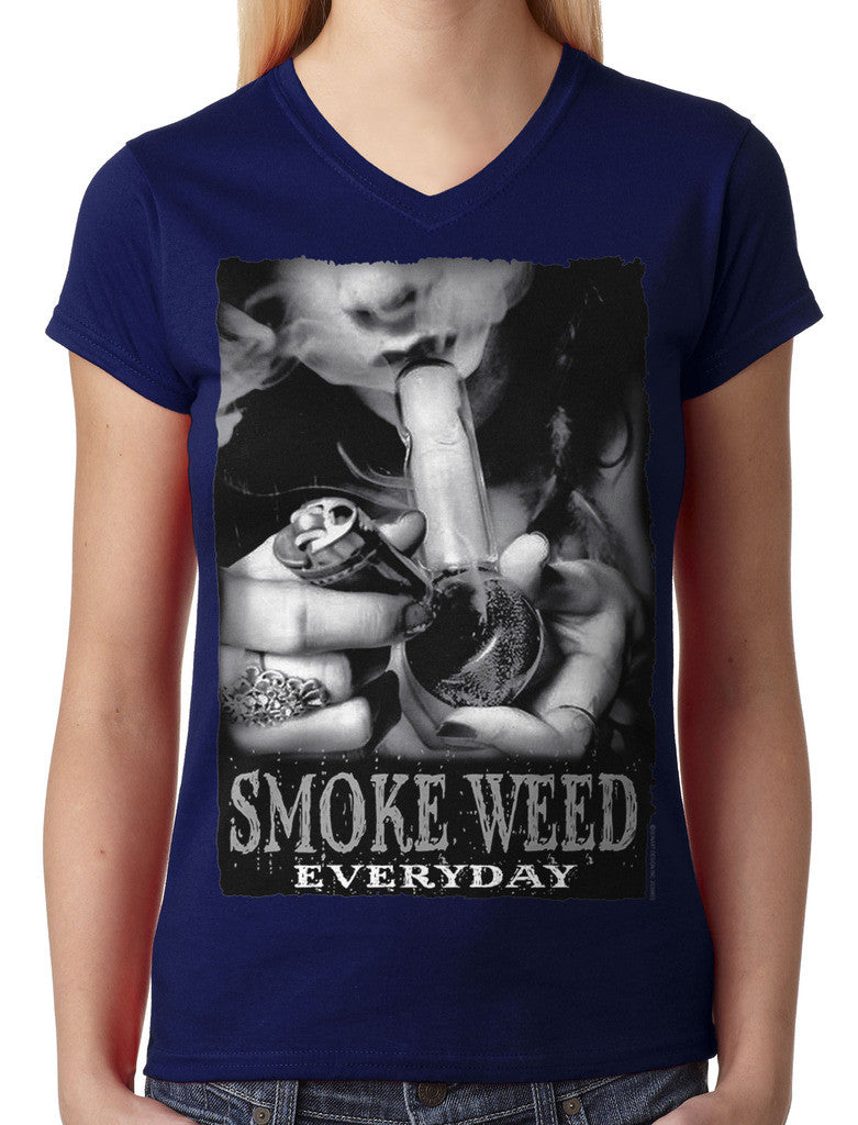 Smoke Weed Everyday Junior Ladies V-neck T-shirt