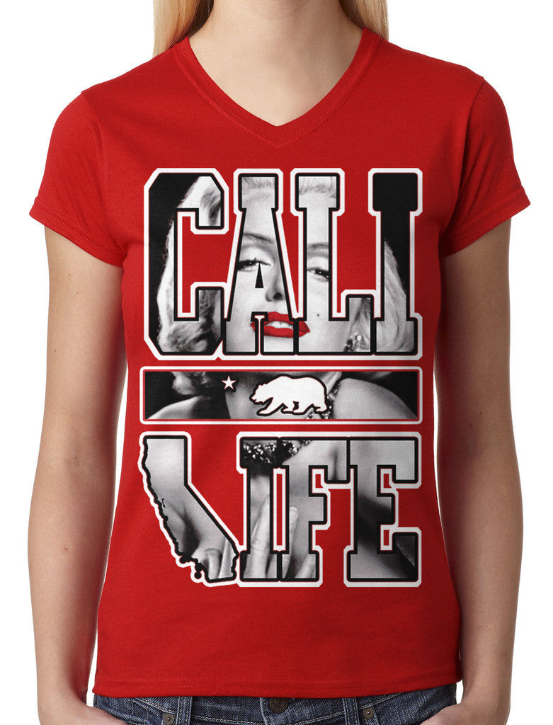 Marilyn Monroe Cali Life Junior Ladies V-neck T-shirt