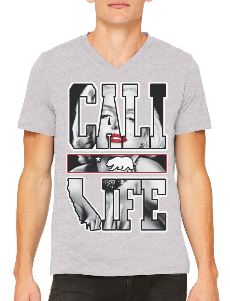 Marilyn Monroe Cali Life Men's V-neck T-shirt