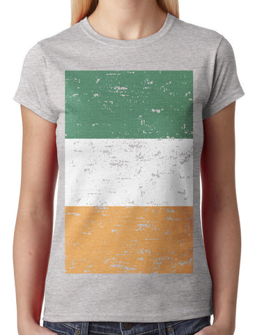 Big Faded Ireland Flag Junior Ladies V-neck T-shirt
