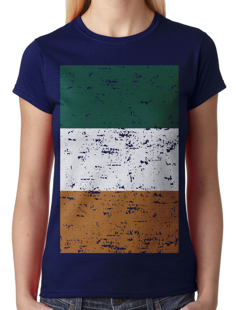 Big Faded Ireland Flag Junior Ladies T-shirt