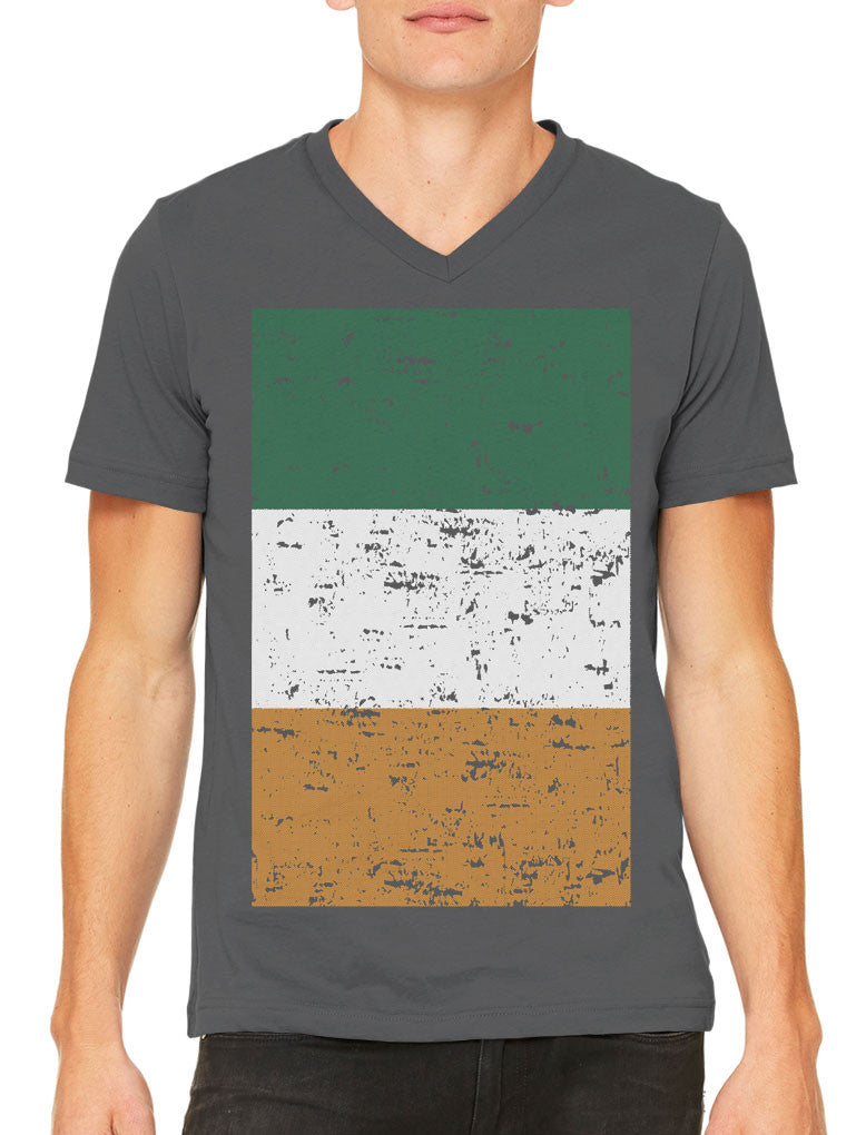 Big Faded Ireland Flag Men's V-neck T-shirt