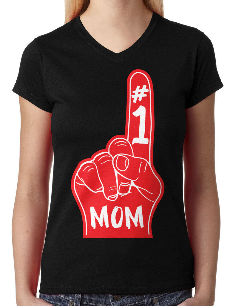 Number 1 Mom Junior Ladies V-neck T-shirt