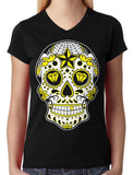 Dia De Los Muertos Sugar Skull Junior Ladies V-neck T-shirt
