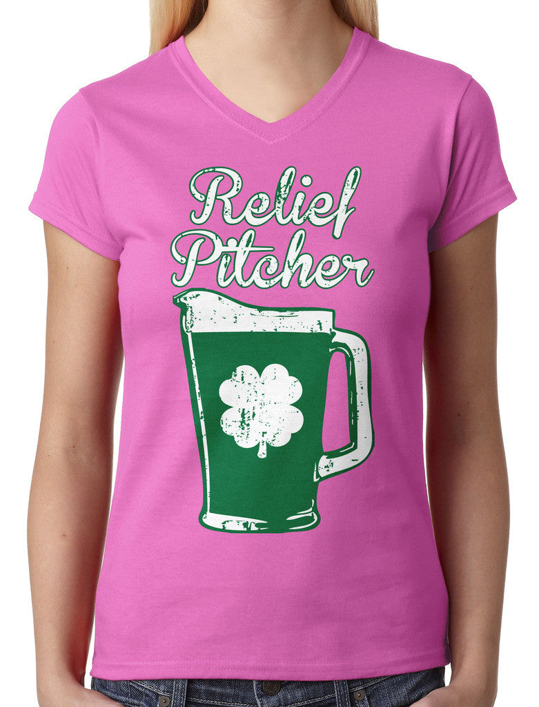 Green Beer Clover Relief Pitcher Junior Ladies V-neck T-shirt