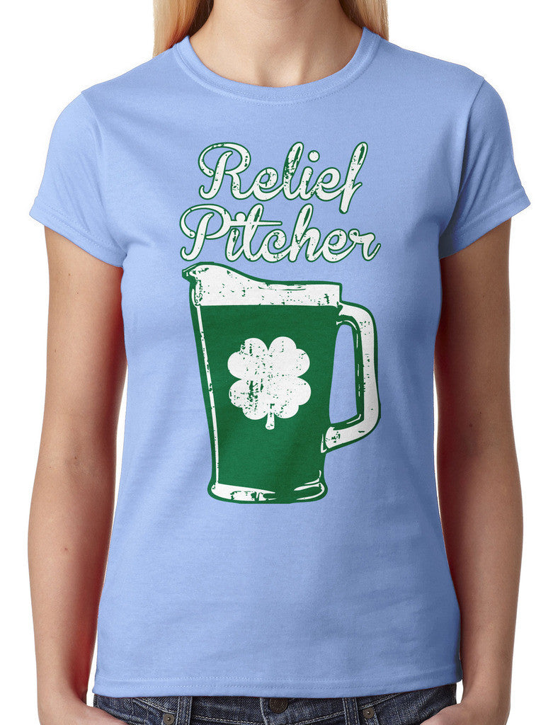 Green Beer Clover Relief Pitcher Junior Ladies T-shirt
