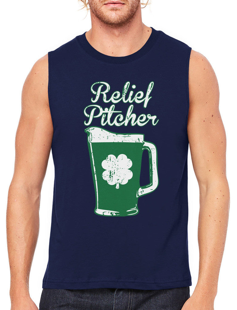 Green Beer Clover Relief Pitcher Men's Sleeveless T-Shirt