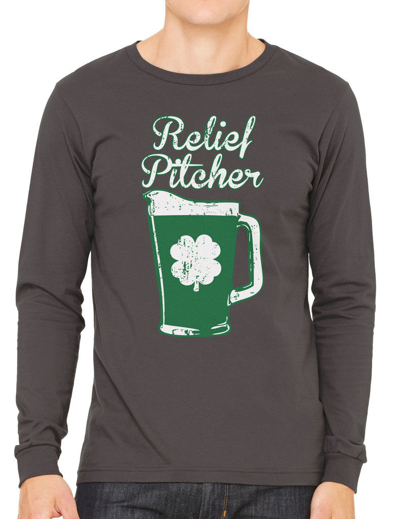 Green Beer Clover Relief Pitcher Men's Long Sleeve T-shirt