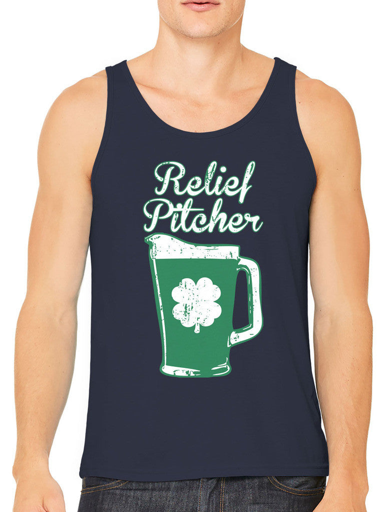 Green Beer Clover Relief Pitcher Men's Tank Top
