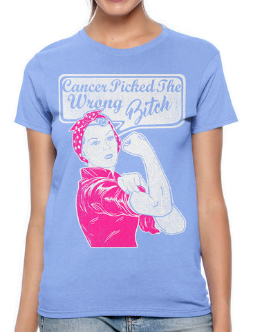 Cancer Picked The Wrong Bitch Junior Ladies V-neck T-shirt