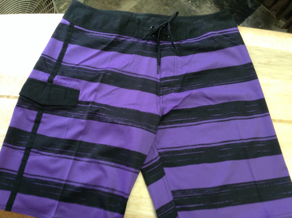 Purple & Black  Feather Light 4  Way Stretch Trunks