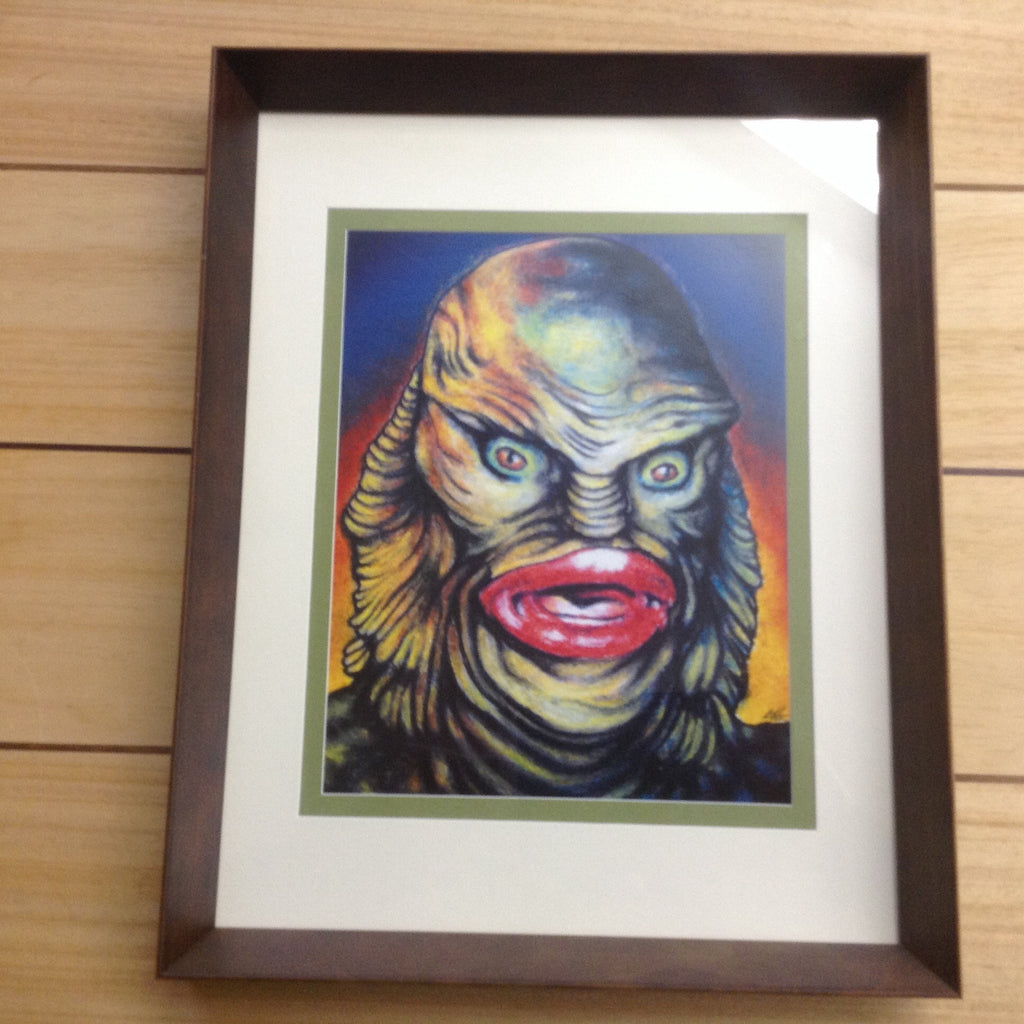 Creature From The Black Lagoon Portrait Framed Hand Signed Print Chuck Hodi