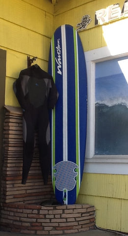 1st day soft board + wetsuit