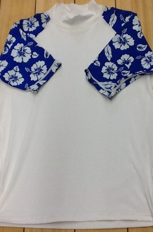 Youth Blue Floral Sleeve Rashguard