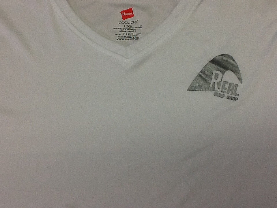 White Real Surf Logo V-Neck Rashguard