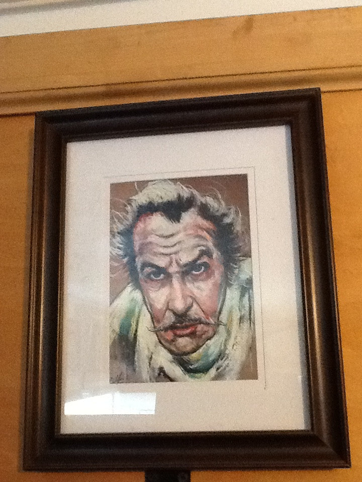Vincent Price portrait singed print Chuck Hodi