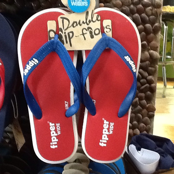Fipper Comfort Wide Slap Sandal Red, White and Blue