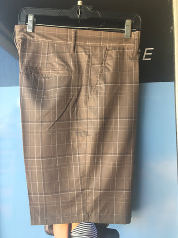 Brown Plaid Hybrid Surf Trunks