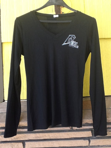 Real Surf Sketch Wave Black Women's V-Neck Rash Guard