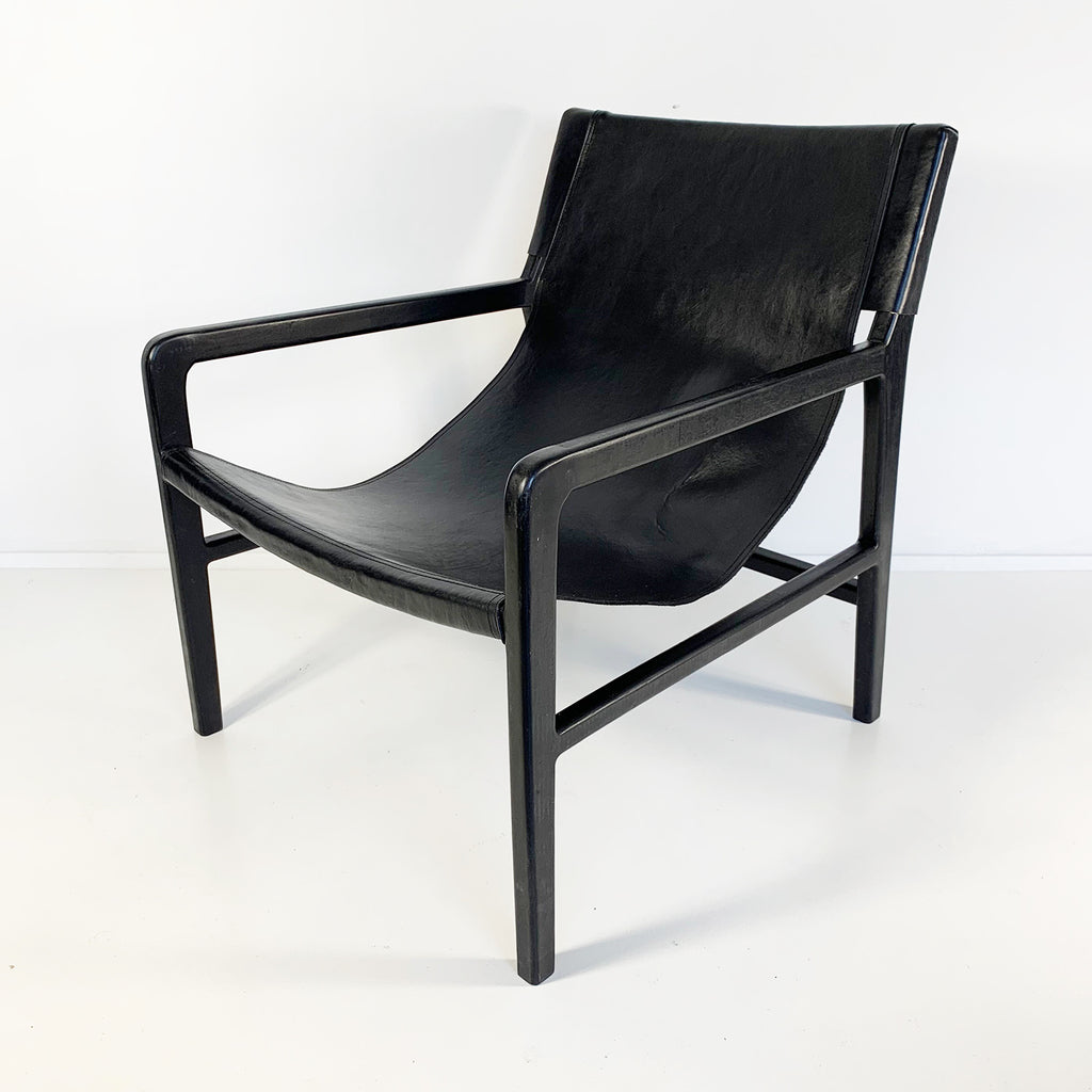 Leather Sling Chair Black/Black