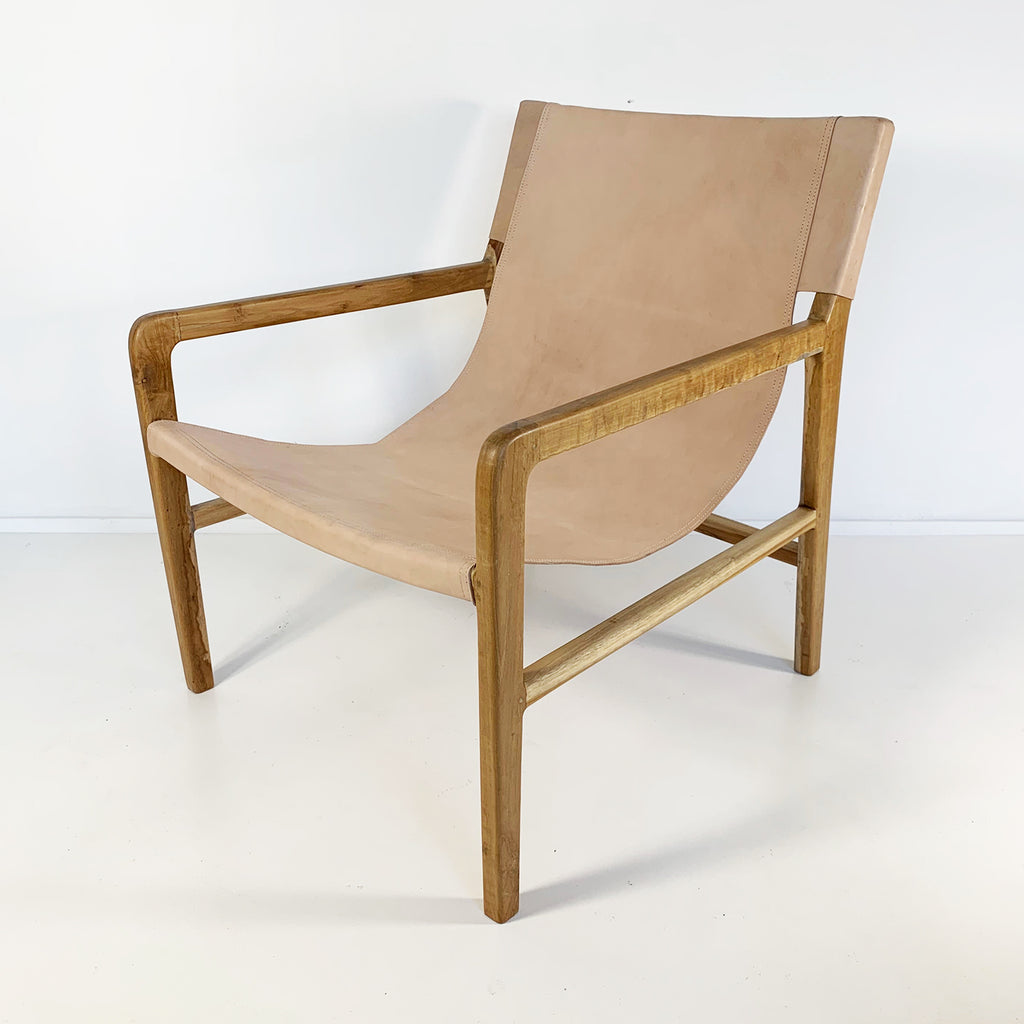 Souk Collective - Leather Sling Chair Natural/Natural