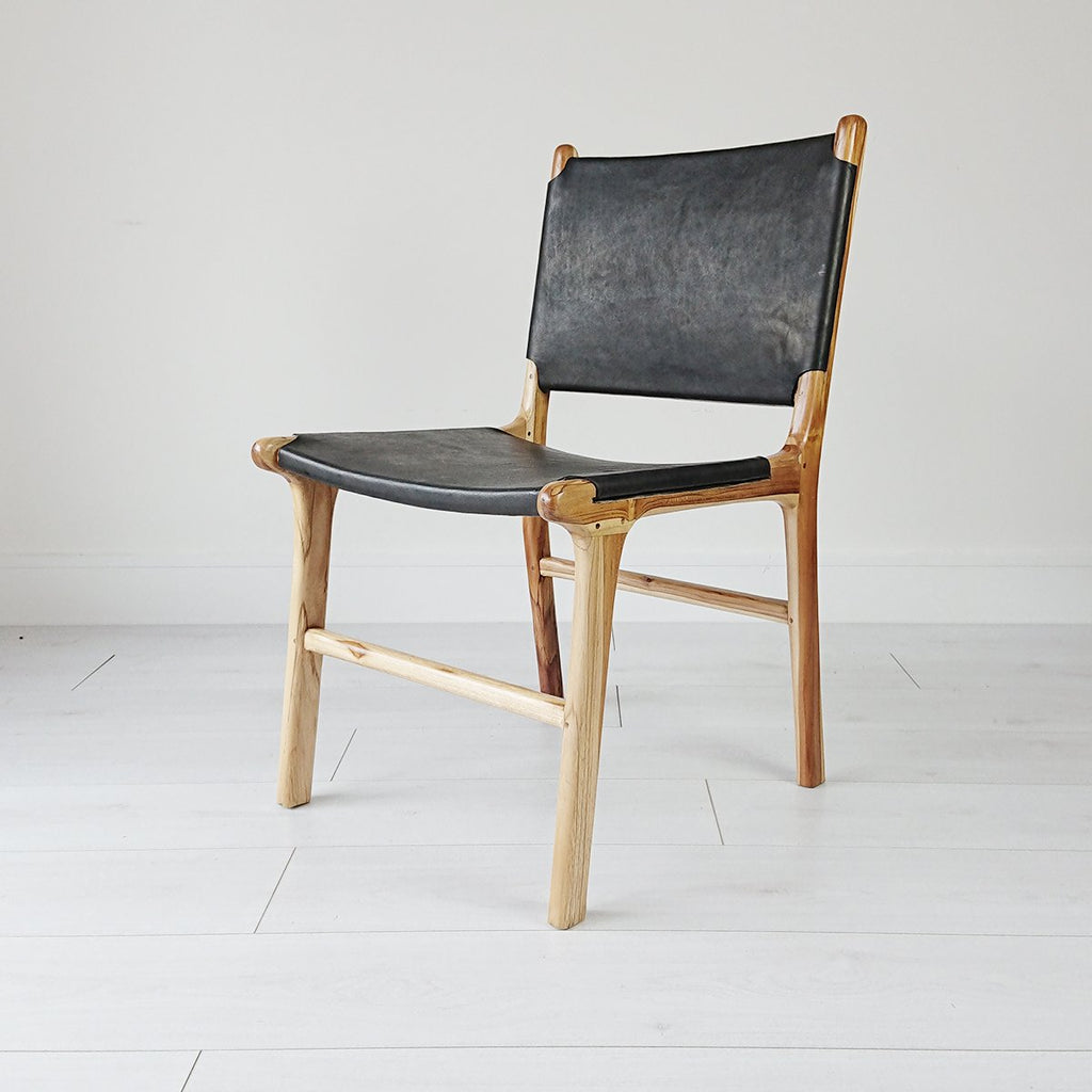 London Dining Chair Natural + Black