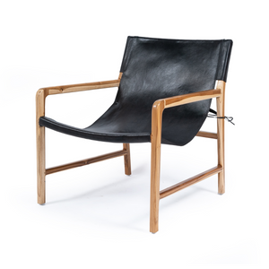SOUK COLLECTIVE | Hyde Leather Sling Chair Black
