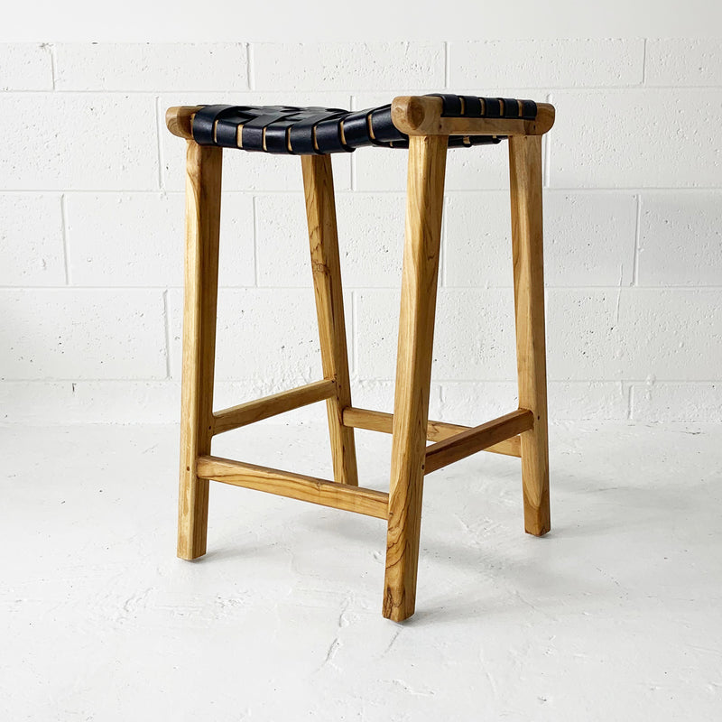 SOUK COLLECTIVE | Strap Woven Leather Stool