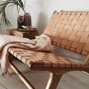 Blush Woven Leather Chair from Souk Collective