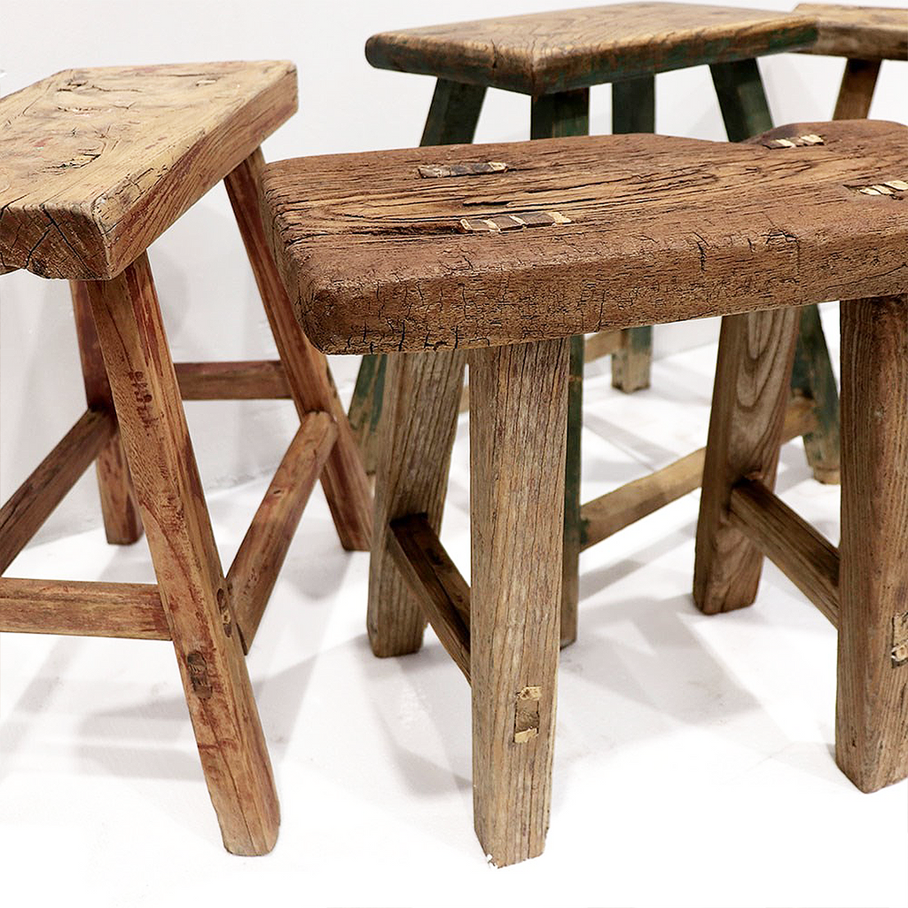 SOUK COLLECTIVE | Original Wooden Rustic Stool - Medium