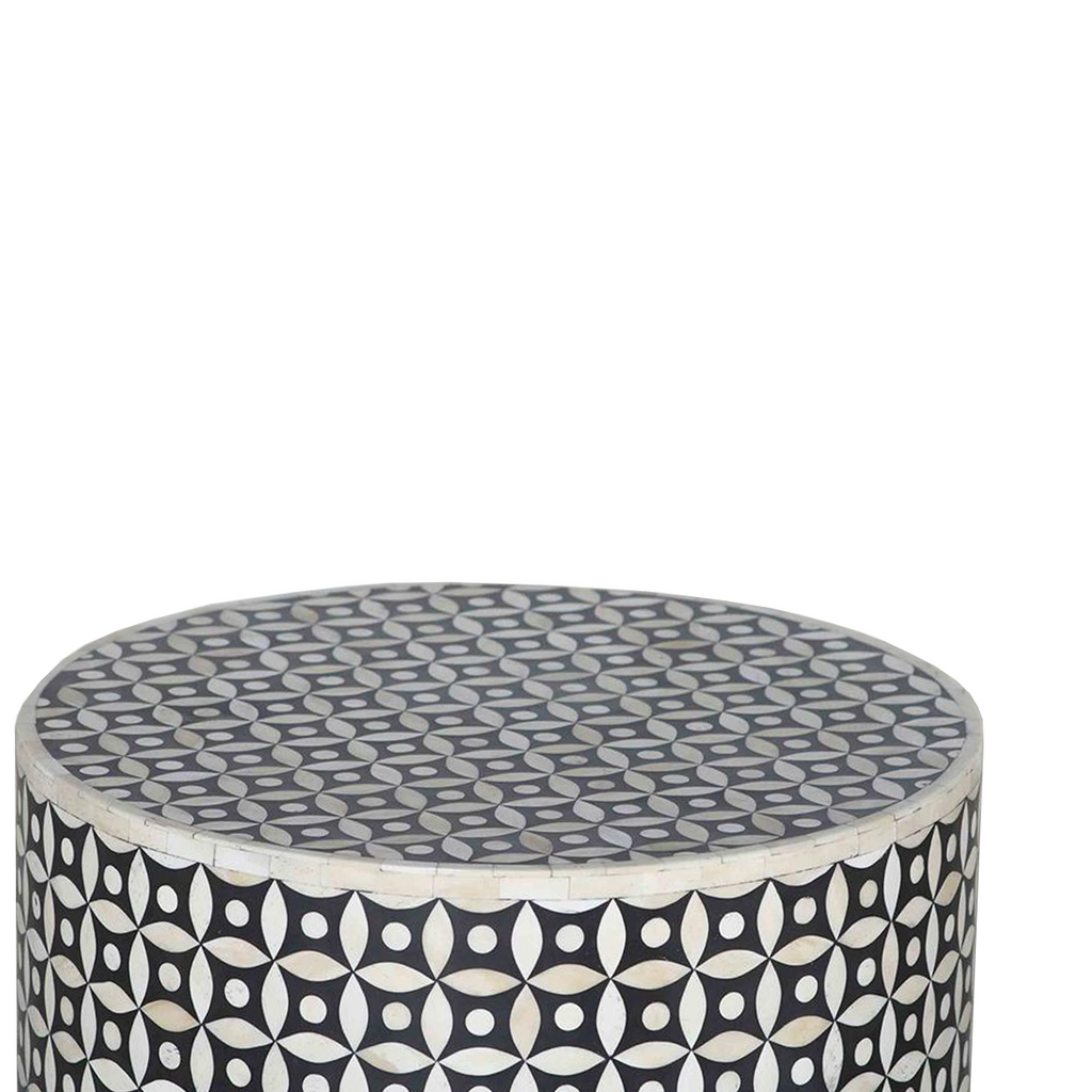 SOUK COLLECTIVE - Taj Bone Inlay Side Table - Geometric