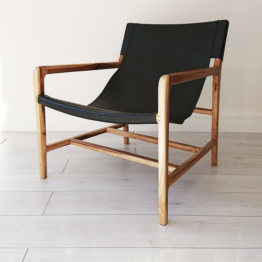 Stacy Leather Sling Chair Natural + Black from Souk Collective