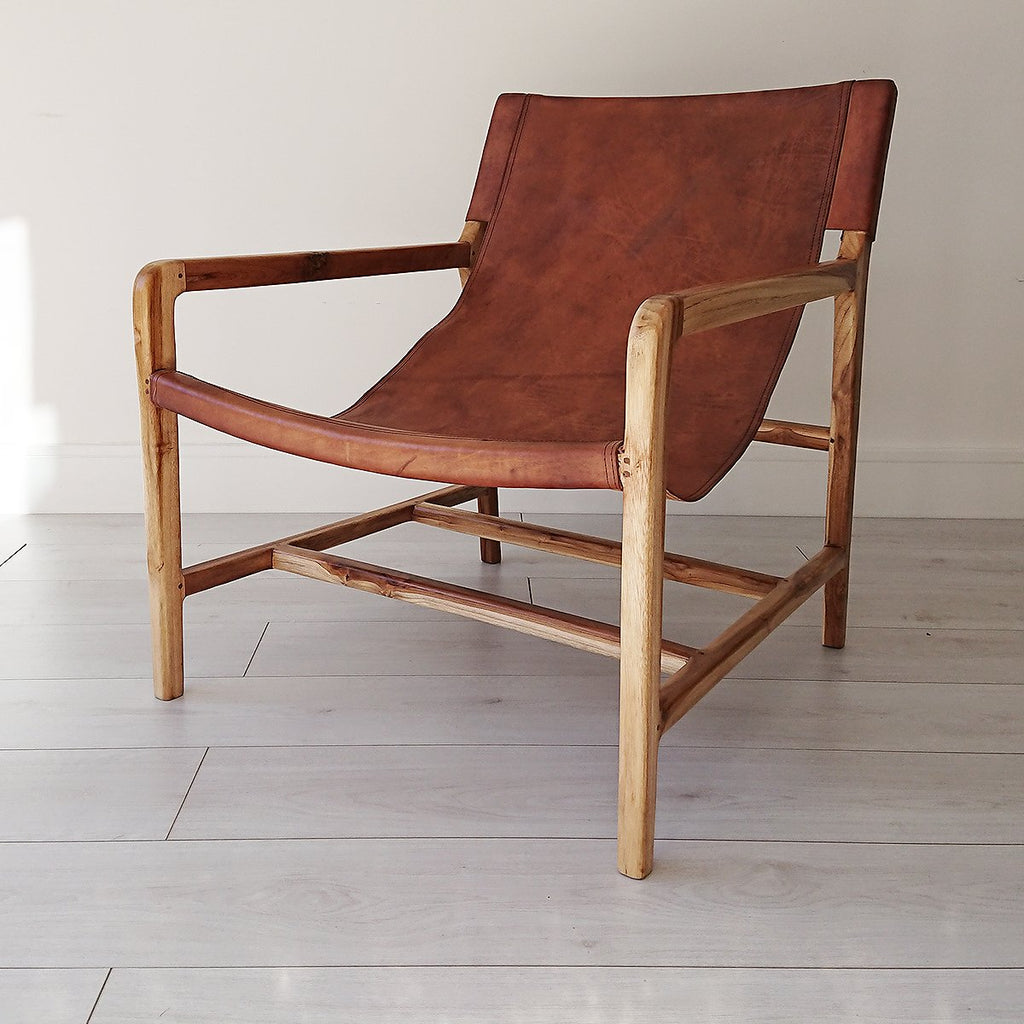 Stacy Leather Sling Chair Natural + Brown from Souk Collective