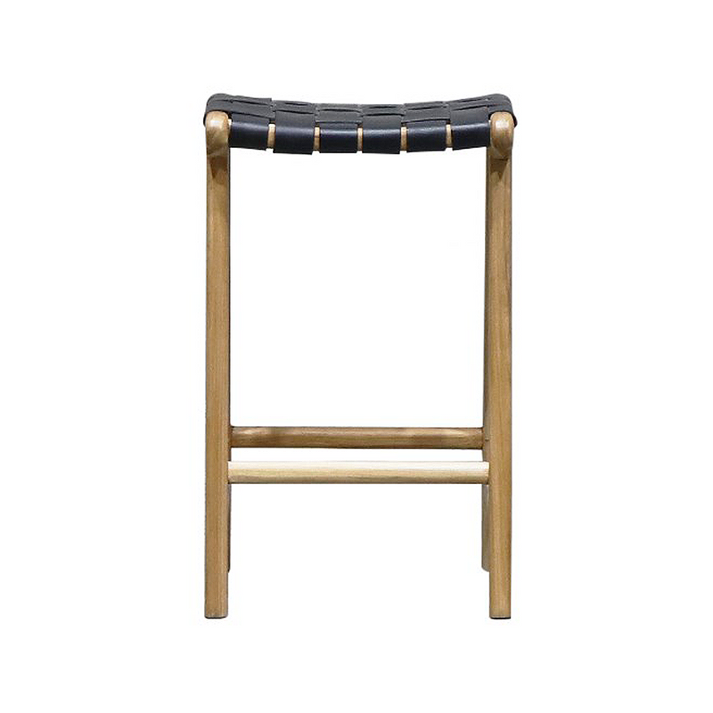 SOUK COLLECTIVE | Hayes Woven Leather Stool Black