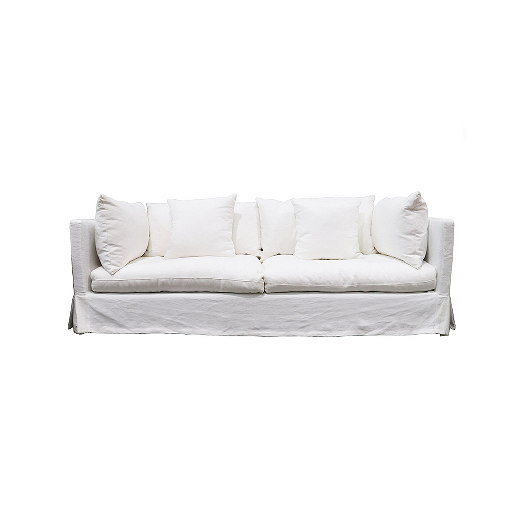 SOUK COLLECTIVE - Long Island Linen Slipcover Sofa White