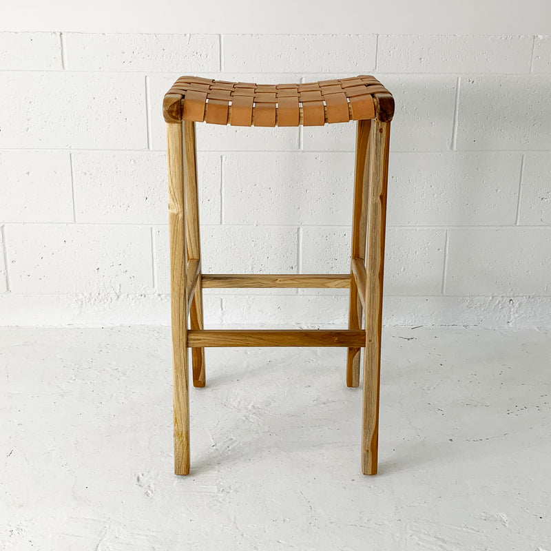 SOUK COLLECTIVE | Katjia Woven Leather Stool