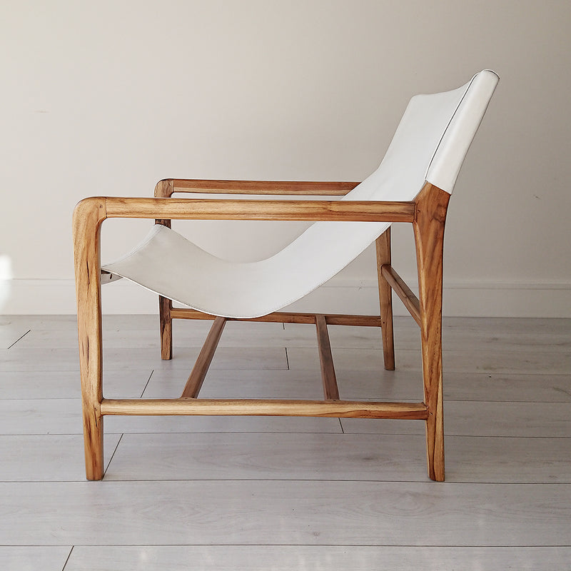 Stacy Leather Sling Chair Natural + White from Souk Collective