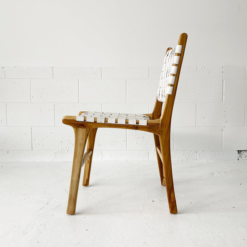 Katjia Leather Dining Chair - Natural/White