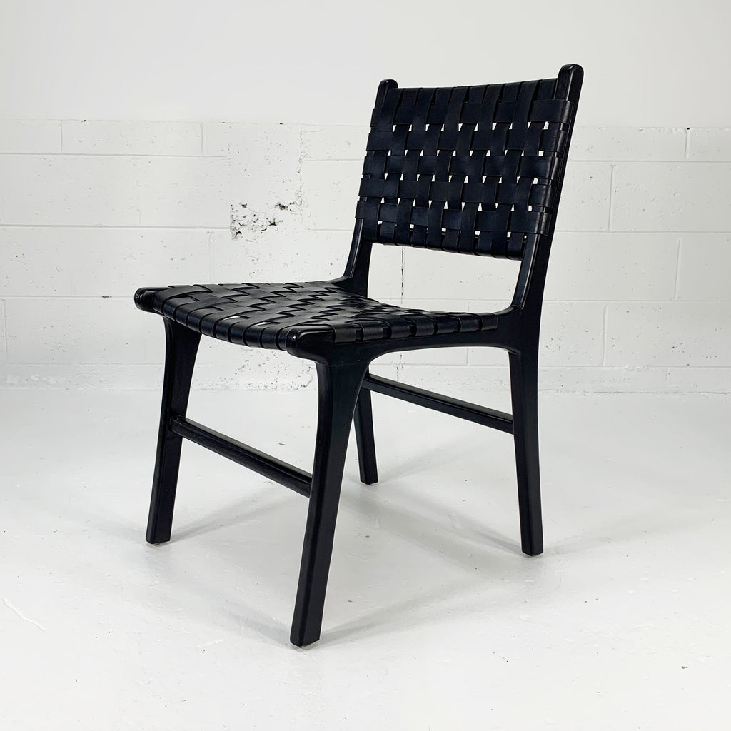 Katjia Leather Dining Chair - Black/Black