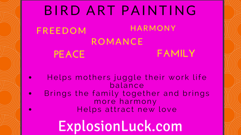 buy Feng Shui bird art painting at www.explosionluck.com as Christmas gift