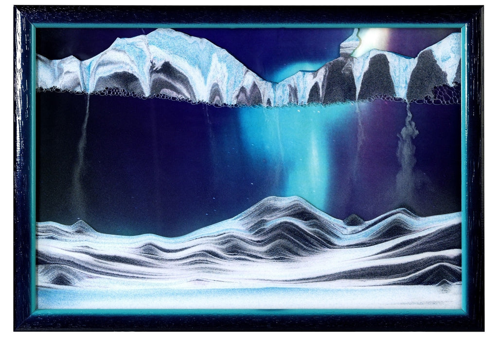 Moving Sand Picture Aurora Borealis in Frame in Movie Series