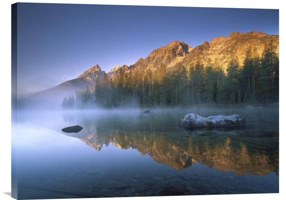 Teewinot Mountain Reflected in Misty Lake