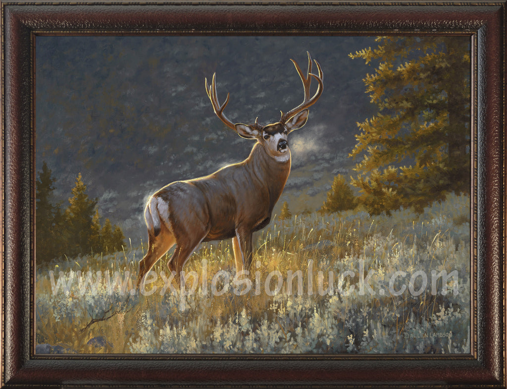 buy feng shui painting featuring a deer in the forest at Explosion Luck